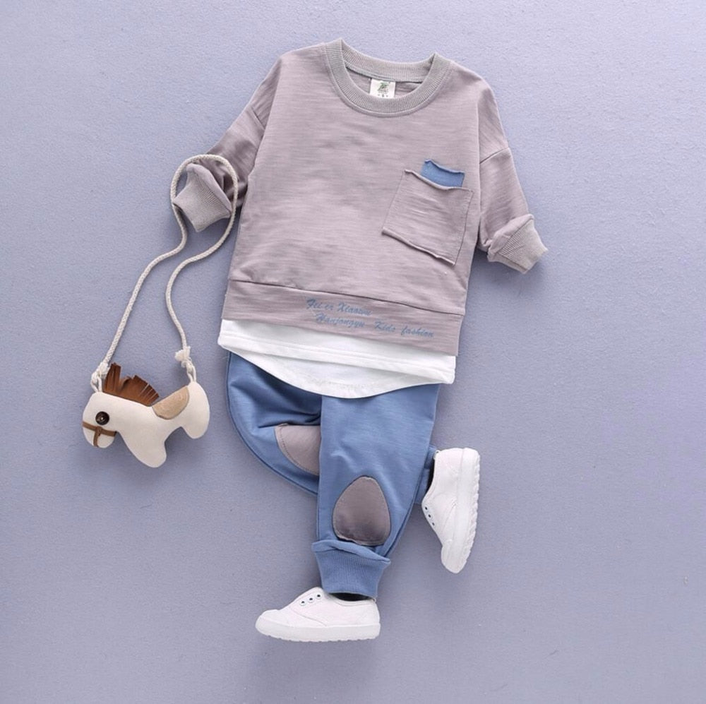 2PC Toddler Baby Boys Clothes Outfit Infant Boy Kids Shirt Tops+Pants Casual Clothing Spring/Autumn Children Clothing Set Cotton-eosegal