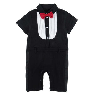 Baby Boy Gentleman Romper Short Sleeve with Bow Tie Suit Set Infant Toddler Vest Party Jumpsuit Stripe with Hat Cute Wedding-eosegal