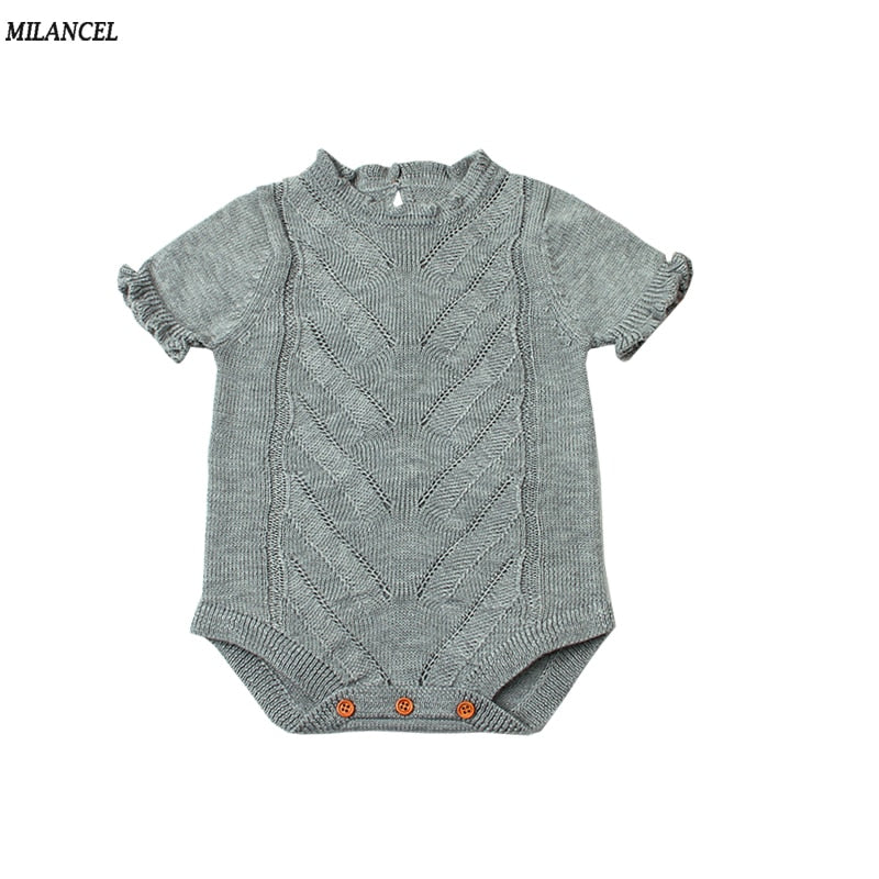 MILANCEL 2018 Baby Bodysuits Knitted Baby Girls Clothing Summer Boys Clothes Short Sleeve Baby Girls Bodysuits Baby Clothing-eosegal