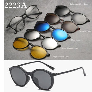 Spectacle Frame Eyeglasses Women Men With 5 clip on Polarized Sunglasseseosegal-eosegal