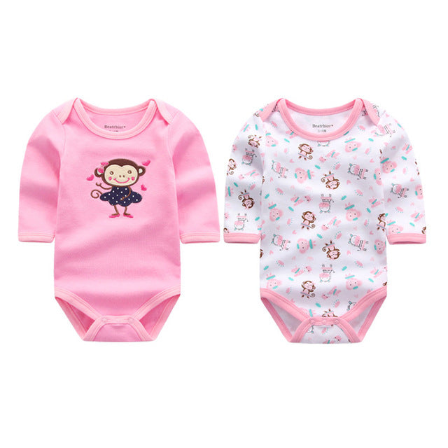 2 Pieces/lot Wholesale Newborn Baby Clothes Infant Long Sleeve Baby Bodysuits 100% Cotton Body Jumpsuits Baby Clothing Set-eosegal