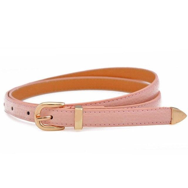 1 Pc 2018 New Fashion Simple Candy Color Patent Leather Thin Belt Women Girl Kids Metal Buckle Thin Casual Decorative Waistband-eosegal