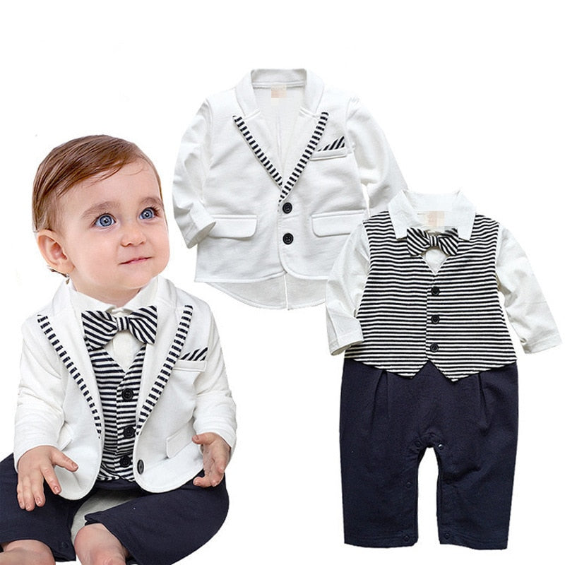 Newborn Baby Boys Clothes Set Gentleman Striped Tie Romper + Jacket Coat 2pcs Clothing Set Infant Boy Set New Born Baby Suit-eosegal