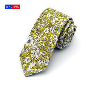100% cotton skinny 6 cm floral necktie high fashion plaid ties foreosegal-eosegal