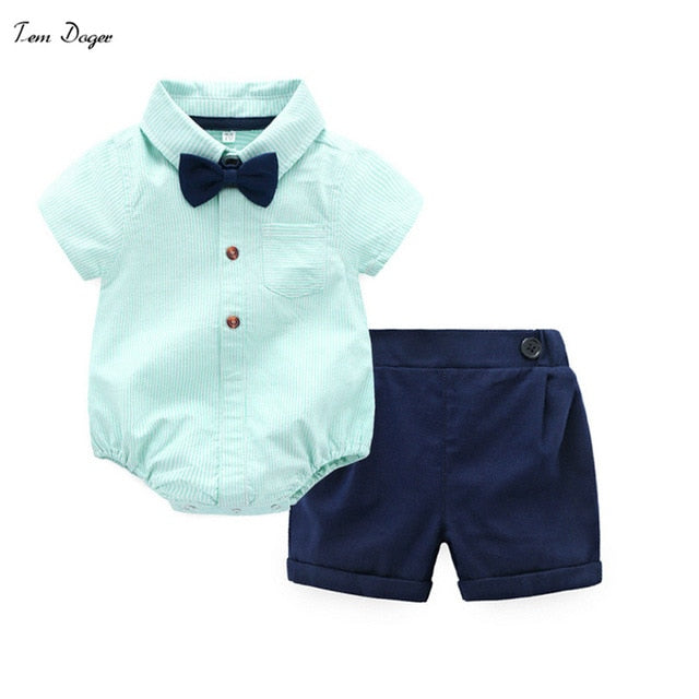 Tem Doger Baby Boys Gentleman Clothes Suit Long Sleeve Cotton Bowtie Rompers + Shorts 2 Pcs Toddler Clothing Bodysuits Outfits-eosegal
