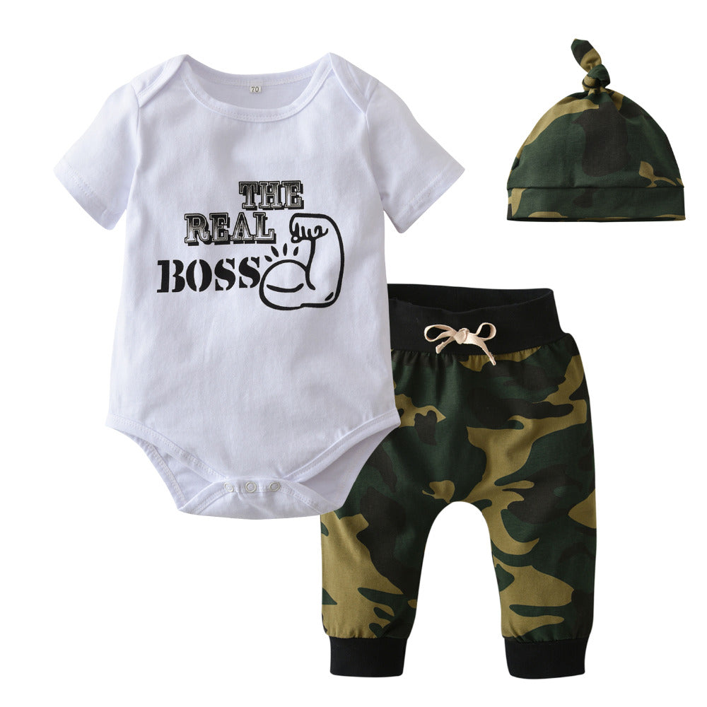 Newborn Baby Boy Girl Clothes Short sleeve Letter The Real Boss Bodysuit Tops Army Green Pant with Hat Toddler Baby Clothing Set-eosegal