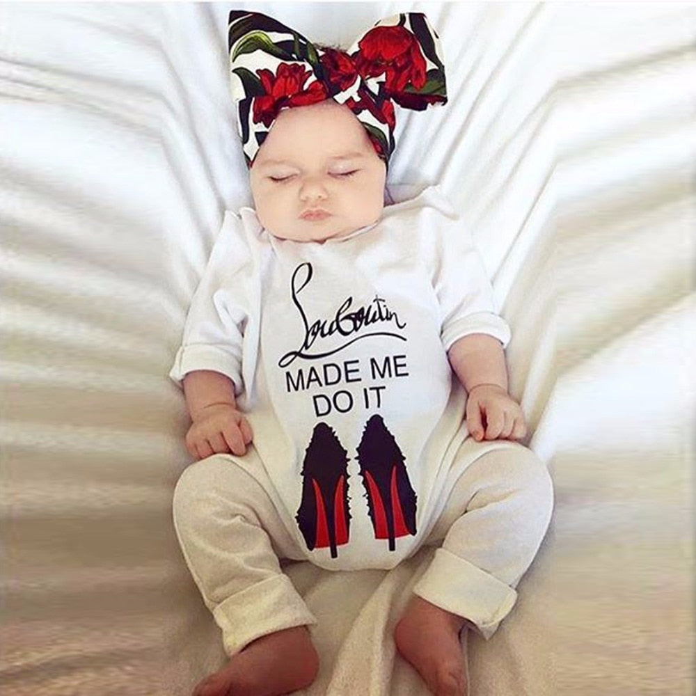 Puseky Funny 2018 Autumn Cotton Newborn Baby Girl Boy Clothes High Heel Shoes Printed Romper Jumpsuit Outfits 0-18M-eosegal