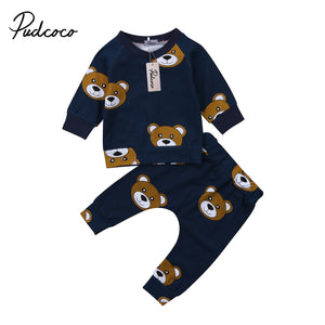 Newborn Toddler Kids Baby Boy Clothes T shirt Hoodies +Long Pants Long Sleeve 2pcs Outfts Home Baby Clothes Set-eosegal
