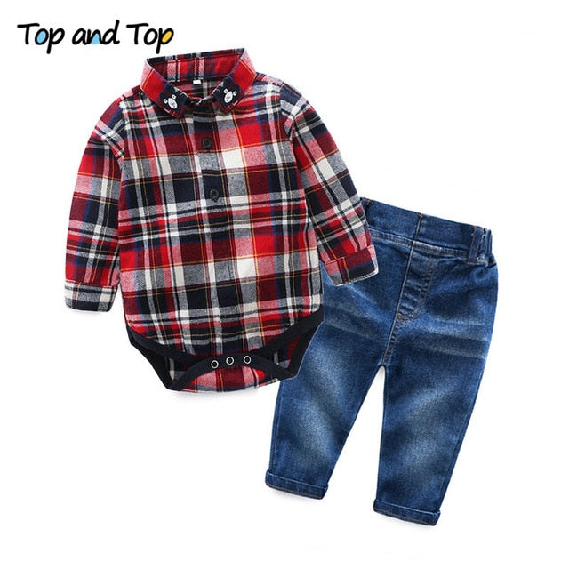 Top and Top Toddler Baby Boys Clothing Set Gentleman Long Sleeve Plaid Rompers Shirt+Jeans 2PCS Outfits Newborn Boys Clothes Set-eosegal