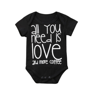 2018 Infant Baby Boys Girls Summer Short Sleeves Bodysuit Black Letters Jumpsuit Love Clothes SUMMER Casual Outfits-eosegal
