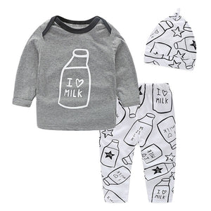 NWAD Milk Bottle Print baby boy clothes 3PCS/Set Newborn Baby Girls Clothes Set Fashion Long Sleeve T Shirt +Pant + Hat FF034-eosegal