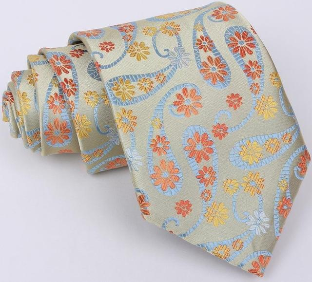 New Classic 8cm Gold Brown Jacquard Woven Silk Ties Mens Neck Tieeosegal-eosegal