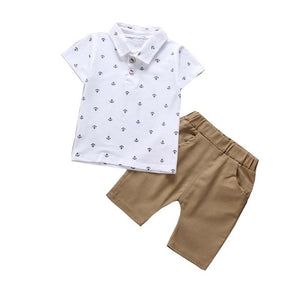 BibiCola Boys Clothing Sets Summer Baby Boys Clothes Suit Gentleman Style Polo Shirt +Pants 2pcs Clothes for Boys Summer Set-eosegal