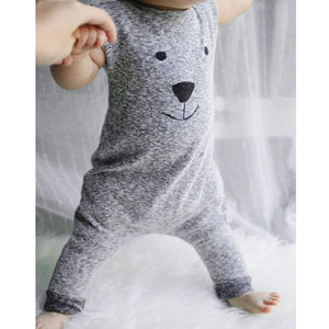 Fashion Baby Rompers Cute Cartoon Bear Printed Boys Sleeveless Cotton Romper Jumpsuit Long Trousers Soft Baby Clothing Outfits-eosegal