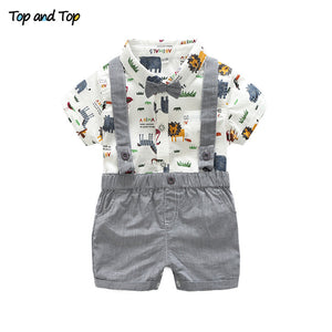Top and Top Summer Toddler Baby Boy Gentleman Clothing Set Short Sleeve Printed Bow Tie Romper Shirt + Suspenders Shorts-eosegal