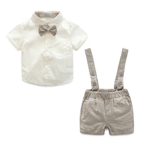 Baby Boy Sets Formal Toddler Clothes Fashion Tie + Short Shirt + Overalls Boys Clothing Summer Boy Party Birthday Costume 0-24M-eosegal