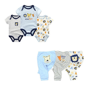 6PCS/LOT Newborn Baby Rompers+ Pants O-neck Baby Jumpsuit 100% Cotton Baby Girl Clothing Pants Ropa Bebe New Baby Clothes Sets-eosegal