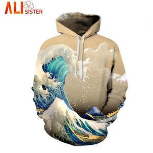 S-3XL Colorful Sea Waves Funny Hoodies Sweatshirt Alisister 2018 Autumn Winter Men'seosegal-eosegal