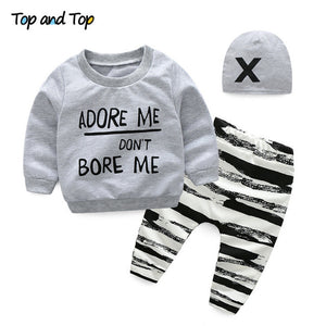 Top and Top Unisex Baby Clothing Set Newborn Long Sleeve Letters Sweatshirt+Casual Pants+Hat 3Pcs Tracksuit Infant Clothing Sets-eosegal