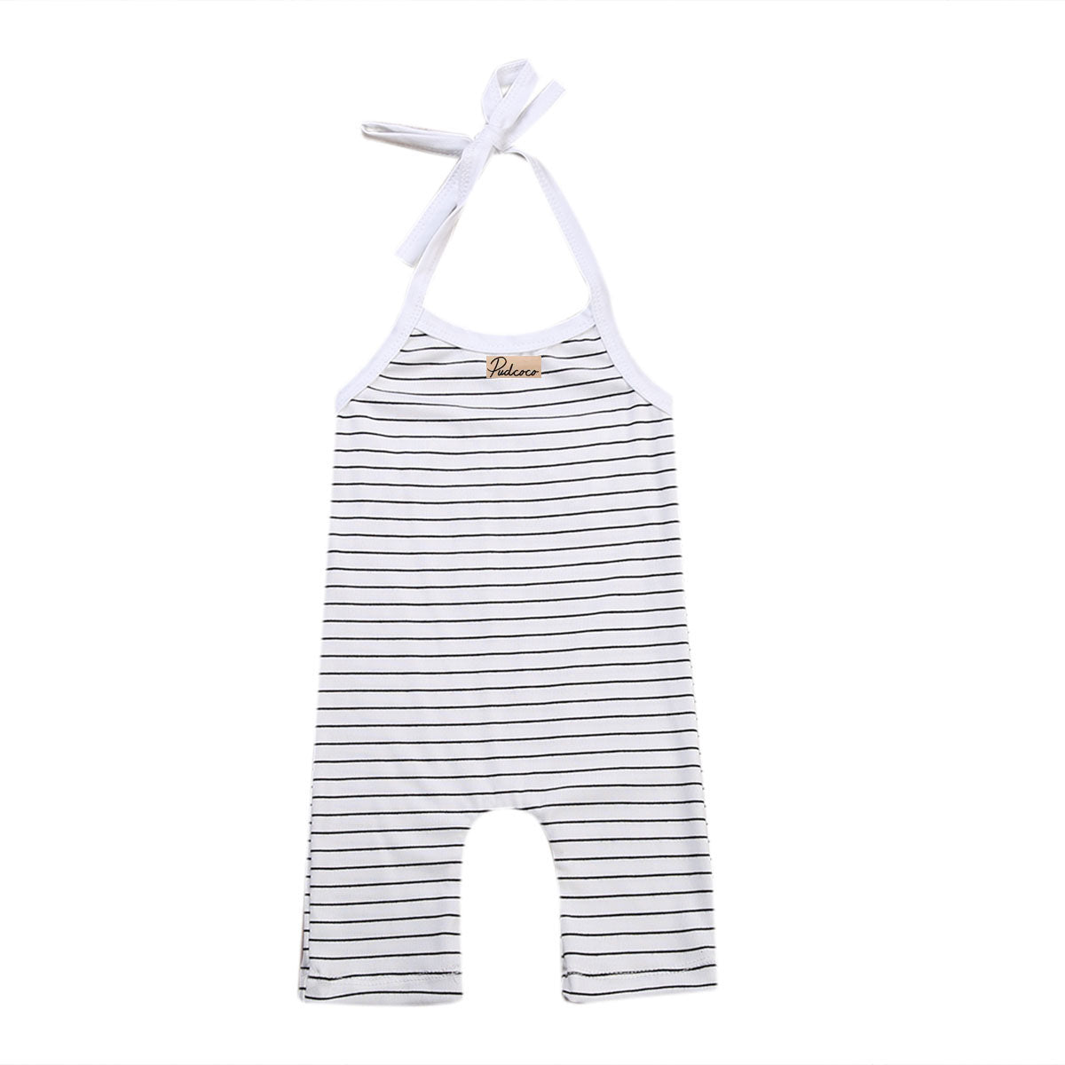Newborn Baby Girls Boys Stripe Black and White O-Neck Cotton Sleeveless Romper Clothes Summer Outfits-eosegal
