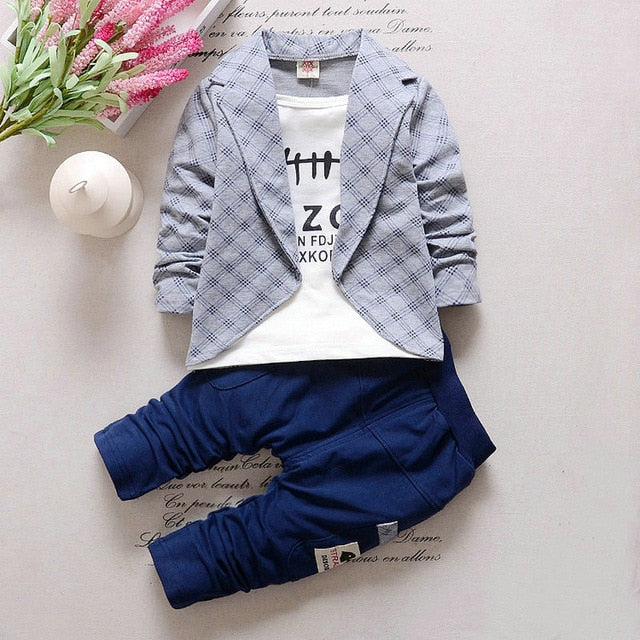 Hot 2PC Toddler Baby Boys Clothes Outfit Boy Kids Wedding Party Suits Outfits Sets Grid False 2 pieces Set Boy Style Children-eosegal