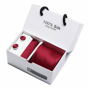 2.95inch(7.5 Cm) Width Ensemble wine red Paisley Man Tie, Handkerchief and Cufflinkseosegal-eosegal