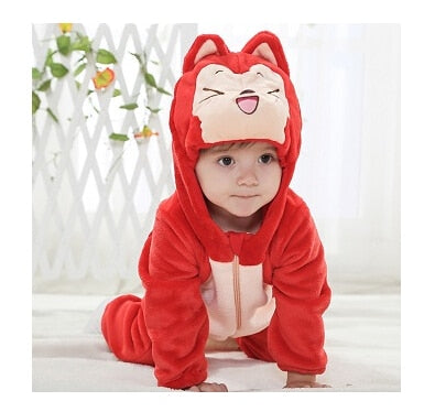 Animal baby rompers boys girls kitty Cartoon pink Jumpsuit Pajamas warm Autumn Winter Children coral fleece macacao de bebe 2018-eosegal