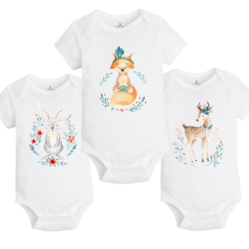 YSCULBUTOL Baby Boho style forest animals Bodysuits Infant boy girl 3 PCS/lot Fashion gift watercolor Baby 0-12M baby jumpsuit-eosegal