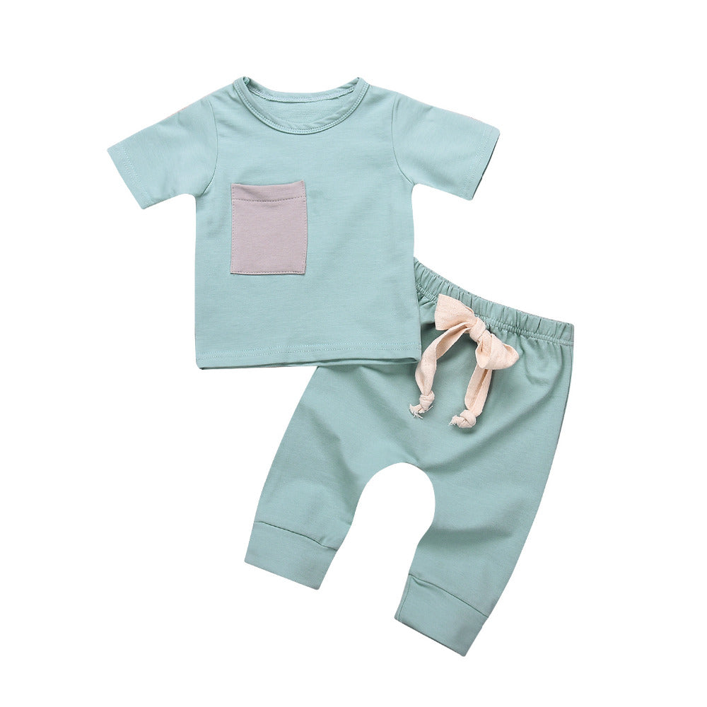 Casual Newborn Infant Baby Boy Short Sleeve Pocket T-Shirt + Pure Drawstring Long Pants Outfits Clothes Set-eosegal