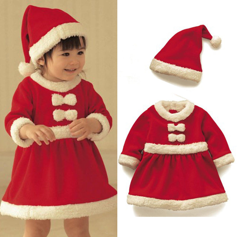 Baby boys girls clothing set winter child Christmas costume 2018 new red dresses +red hat 2pcs set warm clothes-eosegal