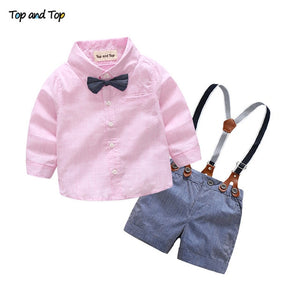Top and Top Fashion Cotton Baby Boys Clothes Summer Clothing Sets Long Sleeve Striped Shirts + Suspenders Pants + Bow Tie 3Pcs-eosegal