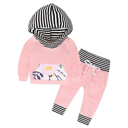 TZ289 Newborn Baby Girls Clothing Set Hooded Long Sleeve Cotton Hoodies Coat leopard Pants 2 Pcs Outfits Baby Girl Clothing Set-eosegal