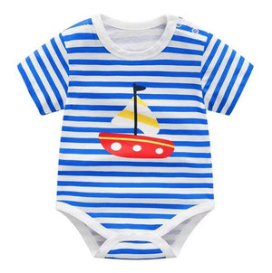 2018 summer baby girl bodysuit blue cotton clothes for new born baby clothing high quality infant costume cheap newborn clothes-eosegal