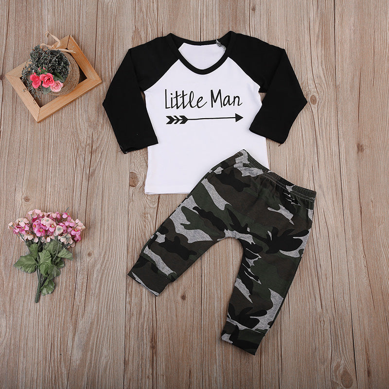 Baby boy clothes set Cotton Long sleeves 2pcs set T-shirt+Camouflage Pants Newborn Little man Printed Baby Clothing-eosegal