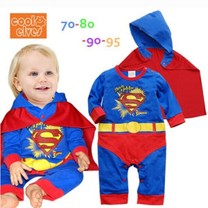 Newborn Baby Boy Superman Romper Party Outfits Fancy Costume Superhero Kids Boys Clothes Cartoon Cloak Decor Boys Rompers 0-24M-eosegal