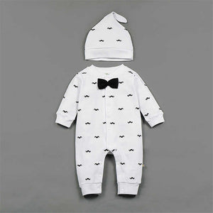 2018 Spring New Baby Boy Clothes Beard Print Fashion Romper+Cap 2pcs/set Newborn Toddler Baby Clothing Set Bebes Outfits 0-1T-eosegal