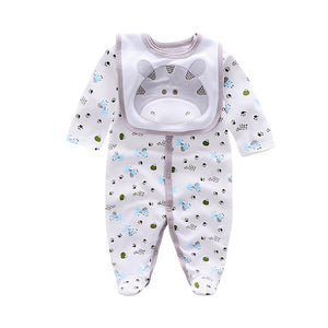 2018 cotton Baby Rompers animal style infant Boy rompers Jumpsuit+bib babies 0-12m baby wear Baby girl Rompers Newborn Clothes-eosegal