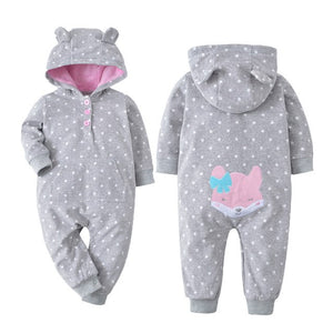 2018 Infant outfits baby jumpsuit fleece bebes clothes hooded cover all baby out wear spring warm clothes girls one piece romper-eosegal