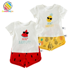 Lemonmiyu Summer Baby Sets Infants Boys Girls Cotton Print Two-Piece Newborns Sweatshirts and Shorts 1st Birthday Baby Suits-eosegal