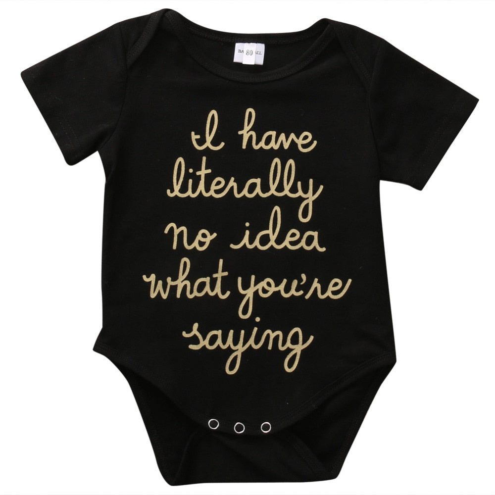 2018 Costume Baby Kid Gold Letter Bodysuit Jumpsuit Outfits Short Sleeves Clothes Baby T-shirt Bodies Casual Black Clothing SS-eosegal