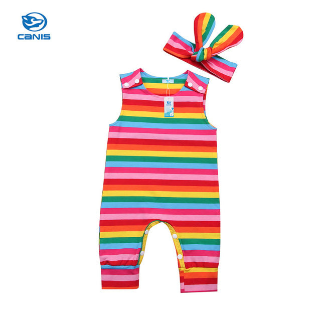 Summer Brand Cute Cotton Romper Headband 2pcs Baby Boy Girls Clothes Infant Jumpsuit Rainbow Striped Outfit Newborn Clothing Set-eosegal