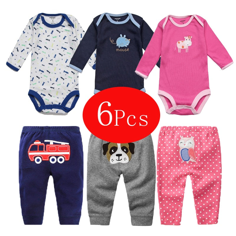 6Pcs Baby Girl Clothes Spring Baby Boy Clothing Set 2018 Kids Costume Newborn Clothes Roupas Bebe Infant Baby Rompers+Pants-eosegal