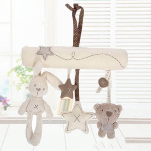 Newborn Gift Cot Hanging Baby Rattle Toy Kids Soft Plush Rabbit Musical Toy-eosegal