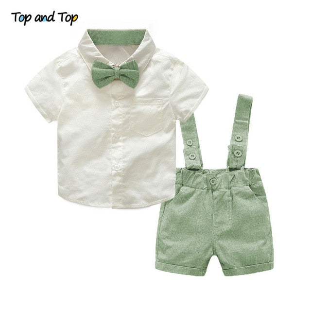 Top and Top Formal Geltleman Baby Clothing Set Short Sleeve Tie Shirt+Suspenders Shorts Casual Wedding Party Birthday Outfits-eosegal