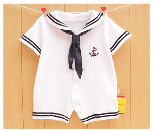 2018 Summer Newborn baby clothes White Navy Sailor uniforms baby rompers Short sleeve one-pieces jumpsuit Baby boy girl clothing-eosegal