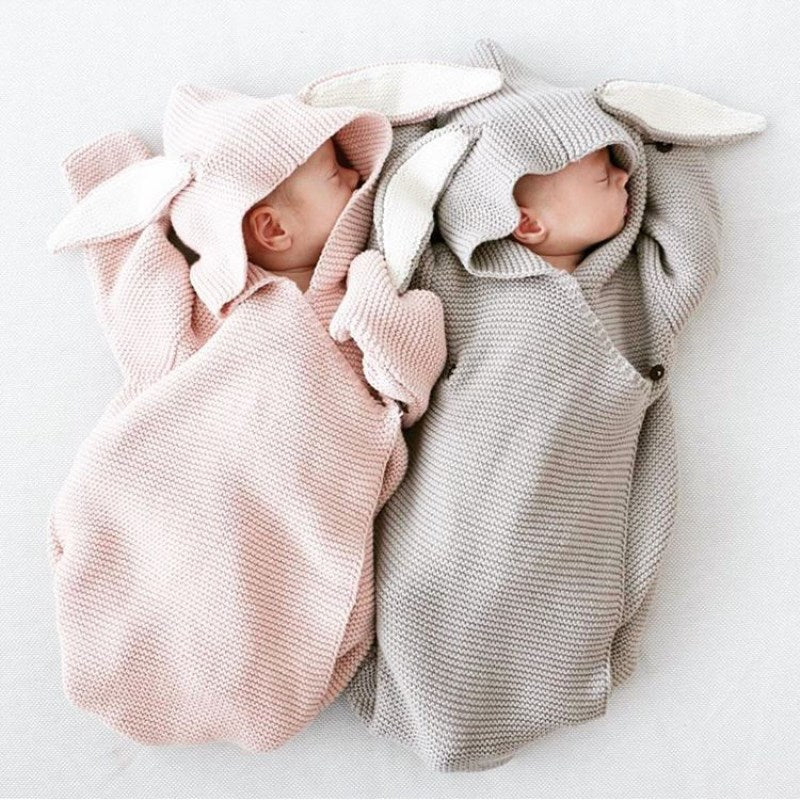 Autumn New Romper Bunny Ears Knitted Baby Sleeping Bag Is Stereo Newborn Baby Clothes Baby Romper-eosegal