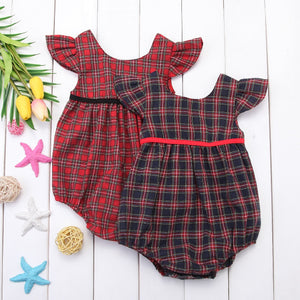 2018 Newborn Baby Girl Corset Red Blue Plaid Summer Jumpsuit Bodysuit Casual Cotton Outfit SS-eosegal