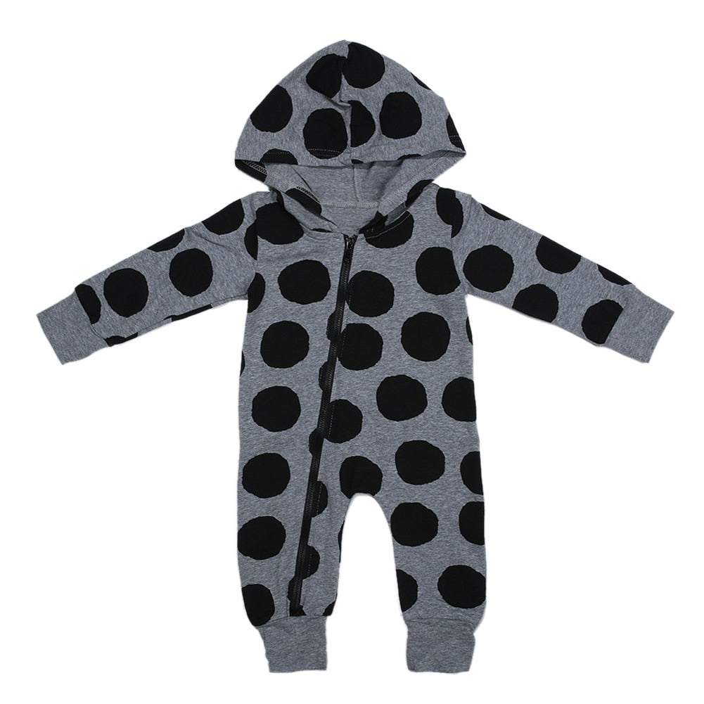 Cute Unisex Newborn Baby Boys Girls Clothing Polka Dots Long Sleeve Zipper Hooded Romper Cotton Baby Romper-eosegal