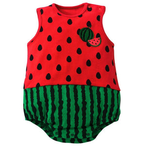Free Shipping Cute New born Baby Girl Clothes Cartoon Fruit Rompers Cotton Sleeveless Button Onesie Baby Boy Summer Clothes LT11-eosegal