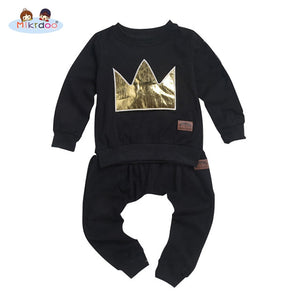Baby boy clothes black T-shirt pants suit pattern crown cotton top trousers long sleeve infantil clothing set casual outwear hot-eosegal